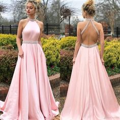 Pink A-Line Satin Prom Dresses, Beaded Backless Vintage Prom Dresses, Prom Dresses Long Pink, Halter Maxi Dresses, Grad Dresses, Beach Wear Dresses, Pastel Prom Dress, Dress Prom, Party Dresses, Prom Gowns, Club Dresses