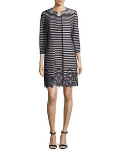 Striped+A-Line+Dress+w/+Matching+Jacket+by+Albert+Nipon+at+Neiman+Marcus.
