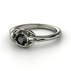 Hercules Knot Ring, Round Black Diamond Sterling Silver Ring from Gemvara