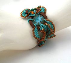 Beaded jewelry, Beadwork bracelet, Seed bead bracelet freeform cuff bracelet, turquoise and brown, christmas gifts
