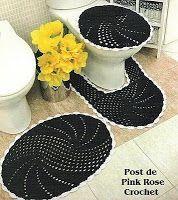 \ PINK ROSE CROCHET /: Jogo de Tapetes para Banheiro - Crochê