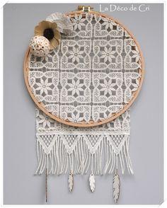 Attrape-rêves en véritable dentelle ancienne : Décorations murales par la-deco-de-cri