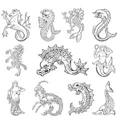 Illustration about Vectorial pictograms of most heraldic sea monsters, executed in style of gravure on wood. No dlends, gradients and strokes. Illustration of hippocampus, heraldic, siren - 21822962 Mythological Creatures, Mythical Creatures, Sea Creatures, Statues, Monster Tattoo, Sea Serpent, Monster Illustration, Good Vibe, Old Maps