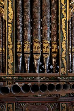 Interesting hand painted organ pipes in Church (Catholic) in San Jerónimo Tlacochahuaya, Oaxaca MX.  Wonder if they are supposed to be San Jeronimo, or the disciples?