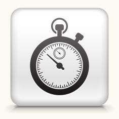 Square Button with Stop Watch royalty free vector art vector art illustration