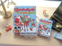 dollhouse comic christmas rudolph vintage inspired 12th scale or playscale lakeland artist by Rainbowminiatures on Etsy