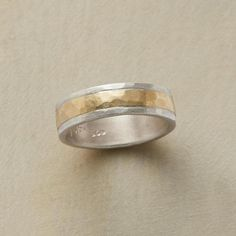 KINDRED SPIRIT RING -- Made by hand, this sterling silver ring with its inner circle of hammered gold, is a beautiful reminder of friendship and love's enduring bonds. Whole sizes 5 to Hammered Silver, Sterling Silver Rings, Gold Rings, Women's Rings, Handmade Rings, Types Of Rings, Ring Bracelet, Bracelets, Bangles