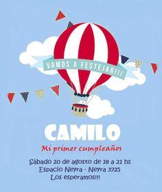 Invitación cumpleaños globo aerostático Camilo 1 año One Year Birthday, 2nd Birthday Parties, Birthday Celebration, Boy Birthday, 1st Birthday Invitations, Montevideo, Baby Party, Balloon Decorations, Gift Tags