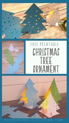 Paper Christmas Tree Ornament- Free Printable These paper Christmas tree ornaments start out as a simple template and fold up intro sparkly three dimensional Christmas tree decorations! Christmas Arts And Crafts, Christmas Paper, Diy Christmas Ornaments, Simple Christmas, Christmas Tree Decorations, Holiday Crafts, Christmas Time, Christmas Art For Kids, Christmas Tree Template