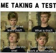 The Maze Runner Funny F*ck exams Books Funny School Memes, Really Funny Memes, Stupid Funny Memes, School Humor, Funny Relatable Memes, Haha Funny, Funny Texts, Funny Stuff, Funny Work