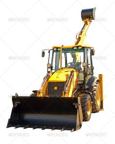 New excavator ...  background, backhoe, bucket, build, building, bulldozer, construction, digger, equipment, excavator, hydraulic, industrial, isolated, loader, machine, raised, scoop, scraper, tractor, white, yellow
