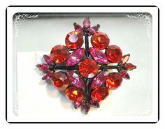 Fuchsia Pink Brooch   Diamond Shaped with a by bodaciousjewels