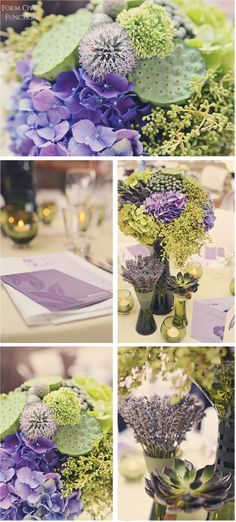 decorating with different shades of green and lavender