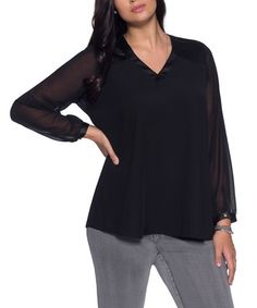 18cf2a8099c94 MYNT 1792 Black Chiffon-Sleeve V-Neck Top - Plus