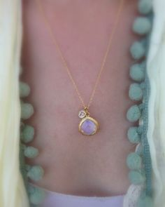 Tiny White Initial with Stone Drop Necklace | Stitch and Stone