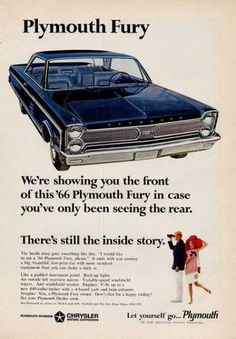 size: Stretched Canvas Print: 1966 Plymouth Fury : Using advanced technology, we print the image directly onto canvas, stretch it onto support bars, and finish it with hand-painted edges and a protective coating. Vintage Trucks, Vintage Ads, Funny Vintage, Retro Ads, Vintage Stuff, Vintage Shoes, Vintage Advertisements, Vintage Designs, Classic Chevy Trucks