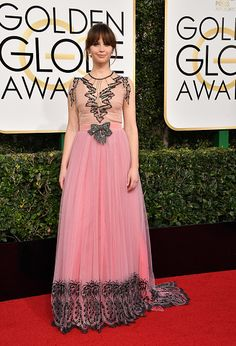 Actress Felicity Jones attends the 74th Annual Golden Globe Awards at The Beverly Hilton Hotel on January 8 2017 in Beverly Hills California