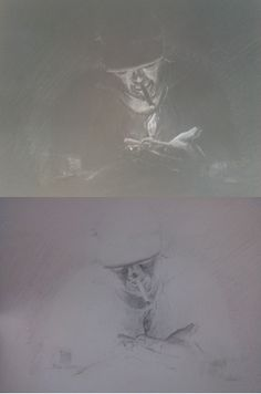 Negative and original sketches back to back - pencil on white cartridge sketch, then photographed with inverted colour.