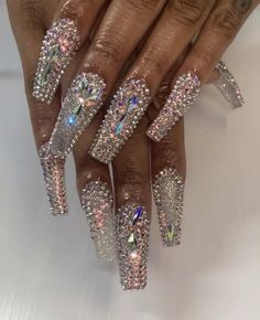 Rhinestone Nails, Bling Nails, Swag Nails, Glitter Nails, My Nails, Nail Tips, Nail Ideas, Exotic Nails, Fire Nails
