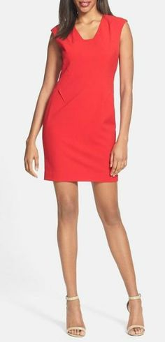 Cherry red sheath dress