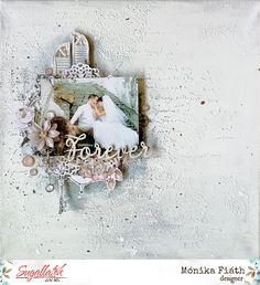 Esküvői vászonkép - punkrose.hu Scrapbook Sketches, Scrapbook Page Layouts, Scrapbook Pages, Scrapbook Canvas, Sketch Paper, Wedding Scrapbook, Paper Crafts, Frame, Creative