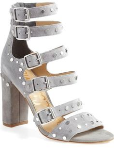 """Sam Edelman 'York' Stud Sandal (Women) - Laddered belt straps punctuated by polished metal disc studs style a lush suede sandal grounded by a covered block heel.      4 1/2"""" heel (size 8.5).     Back zip closure; adjustable straps with buckle closures.     Leather upper/synthetic lining and sole.     By Sam Edelman"""