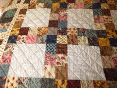 "Quilt & Cushions for my Stepdaughter Victoria - Using Moda ""Collection for a Cause - Love"" Mini charm packs (2 1/2"" squares) + complimentary Moda Fabrics - Close up of the Block"