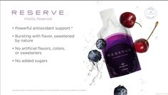 RESERVE™ is a unique blend of superfruits containing a powerhouse of antioxidants that work together as a defense against free radical damage. Grape Seed Extract, Green Tea Extract, Mobile App, Google Plus, Operation, Greece Holiday, Live Stream, Regular Exercise, Stem Cells