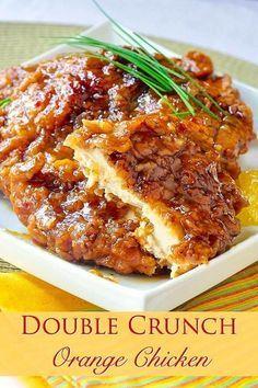 Double Crunch Orange Chicken - This very inviting crispy orange chicken recipe is an outstanding variation of our Double Crunch Honey Garlic Chicken recipe. #Oranges