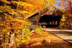 Autumn. Covered Bridge near Conway, New Hampshire USA