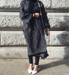 Grey Fringe Abaya Coat
