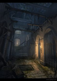 Urban undercity prison dungeon cells The torch light flickered, in the prison. A rough procession of soldiers entering disrupted the relative peace. Dark Fantasy, Fantasy City, Fantasy Places, Fantasy Kunst, Medieval Fantasy, Fantasy World, Creation Image, Fantasy Setting, Wow Art