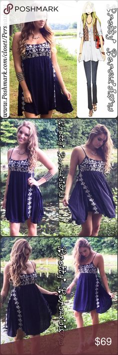 NWT Navy Floral Embroidered Slip Dress Available in sizes: S & M (L sold out in Navy)🌻 Also available in White in a separate listing  Love and affection will fill each and every day following the arrival of this ivory embroidered dress! Gauzy woven rayon shapes a babydoll bodice decorated with navy blue embroidery along the bust and sides. Breezy skirt. Fitted bust. Empire waistline. Adjustable spaghetti straps meet a smocked back panel Lined 100% Rayon  Bundle discounts available  No pp or…