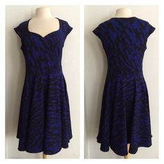 """2 LEFT!! (Plus) Fit n Flare dress Blue/ black fit n flare dress. Very stretchy! 96% polyester/ 4% spandex. True to size. Dress shown in photos is size 1x. Bust stretches well beyond each measurement. Not sheer. This dress has some weight to it. Tag for 3x reads XXXL. RSaT3DaR0 1x- L: 42"""" • B: 38"""" 2x- L: 43"""" • B: 40"""" XXXL- L: 44"""" • B: 42"""" 1x•2x•XXXL • 1•0•1 ⭐️This item is brand new with manufacturers tags, boutique tags, or in original packaging. 🚫NO TRADES 💲Price is firm unless bundled…"""