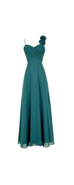 Lily Boutique Rosette On My Shoulder Chiffon Maxi Dress in Teal, $100  www.lilyboutique.com