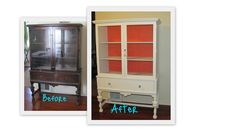 "China cabinet redo - Behr paint in Wet Coral on inside. Home depot acrylic ""glass"" knobs on drawer."