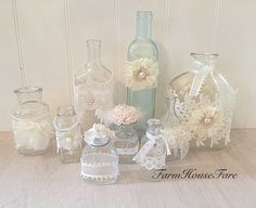 Lace Vintage Glass Bottles Wedding Table by FarmHouseFare on Etsy