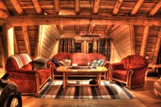 Amazing Log Home Living Room Interior Design Ideas Cottage Style Displaying Brown Velvet Sofa Set Using Semi Attached Arms And Curved Backrest Also Rustic Wooden Rectangle Coffee Table Above Stripes Rug With Country Living Room Furniture And Furniture Sets Living Room, Excellent Decorating Ideas With Awesome Cottage Style Living Room Furniture: Furniture, Living Room