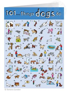 """101 things dogs do: Greeting card by Santoro London (124x169 mm / 4.9"""" x 6.7"""", £2.35) #illustration #dog"""
