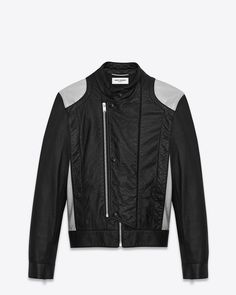 Saint Laurent Paris Band Collar Jacket in Black and Silver Leather