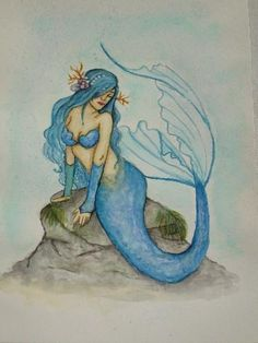 Mermaid watercolor, by Nakano