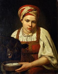 A Peasant Girl with a Calf - Alexey Venetsianov