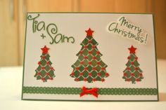 The Christmas trees were cut out and then had patterned acetate put at the back.