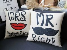 Mr. Right Moustache and Mrs. Always Right by theburlapsacprincess, $35.00
