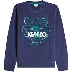 Kenzo Embroidered Cotton Sweatshirt ($219) ❤ liked on Polyvore featuring men's fashion, men's clothing, men's hoodies, men's sweatshirts, blue and kenzo mens sweatshirt