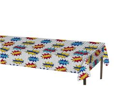 """Plastic Disposable Table Cover Great for Superhero Parties 54"""" x 84""""                                                                                                                                                                                 More"""