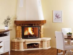 Classic Fireplace, Home Fireplace, Corner Wood Stove, Balcony Design, Barbacoa, Design Case, Sweet Home, House Design, Living Room