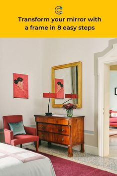 Why buy a fancy framed mirror when you can DIY one with ease? Add some shine and light to any room with this weekend project. #mirror #wall #wallart #decor #upcycle #customize #custom