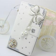 Diamond flower bowknot tassel PU leather wallet flip slot Case cover for Samsung