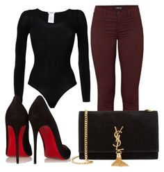 """Untitled #2470"" by dreamfashion4ever ❤ liked on Polyvore featuring moda, Wolford, J Brand, Christian Louboutin e Yves Saint Laurent"